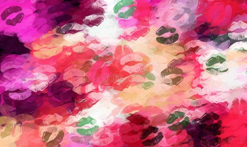 Rode roze oranje en groene kussenlippenstift royalty-vrije illustratie