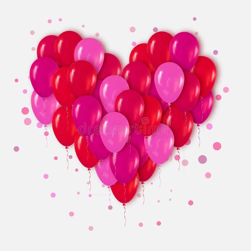 Rode Roze Realistische 3d Hartbos van Ballons die voor Partij en Vieringen met confettien vliegen royalty-vrije stock afbeelding