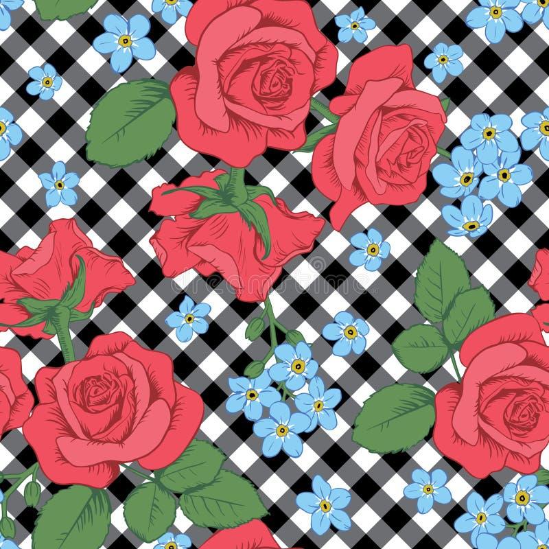 Rode rozen en myosotisbloemen op zwart-witte gingang, geruite achtergrond Naadloos patroon Vector Illustartion vector illustratie