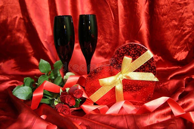 Rode Rozen en Wijn stock afbeelding