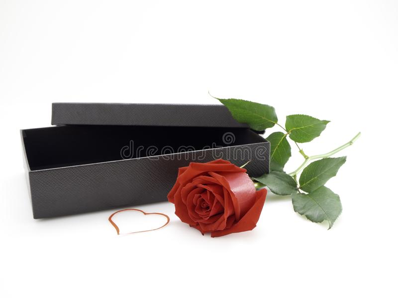 Rode Rozen met Giftdoos op Valentine' s Dag royalty-vrije stock foto