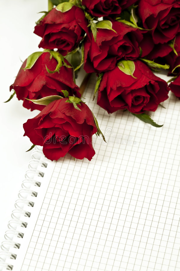 Rode rozen met lege nota stock fotografie