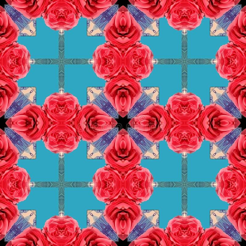 Rode rozen op een blauwe achtergrond stock foto's