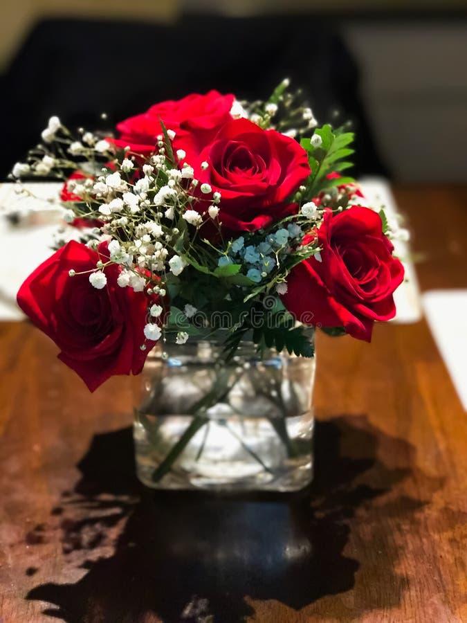 Rode rozen in vaas royalty-vrije stock afbeelding