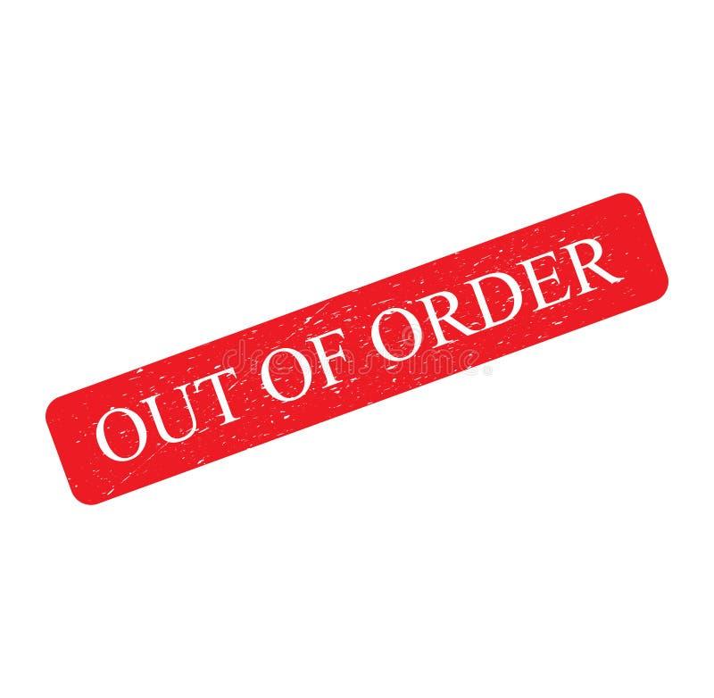 Rode Rubberzegel, het effect van het tekstteken grunge, UIT geïsoleerde ORDE op witte achtergrond stock illustratie