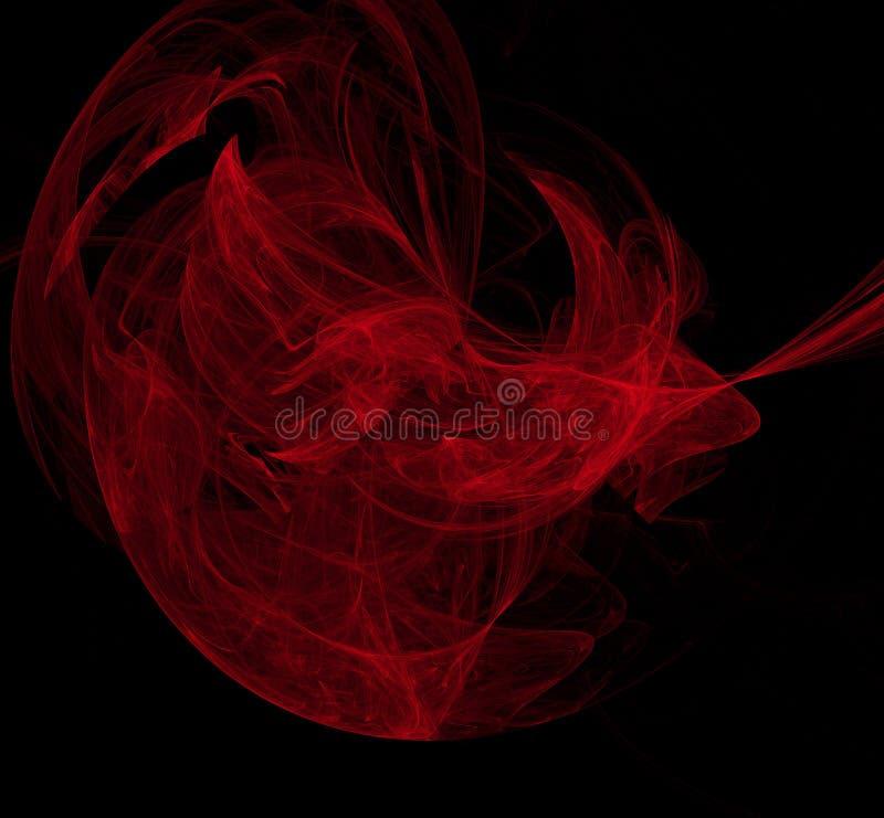 Rode samenvatting op zwarte achtergrond Fantasiefractal textuur Digitaal art het 3d teruggeven Computer geproduceerd beeld vector illustratie
