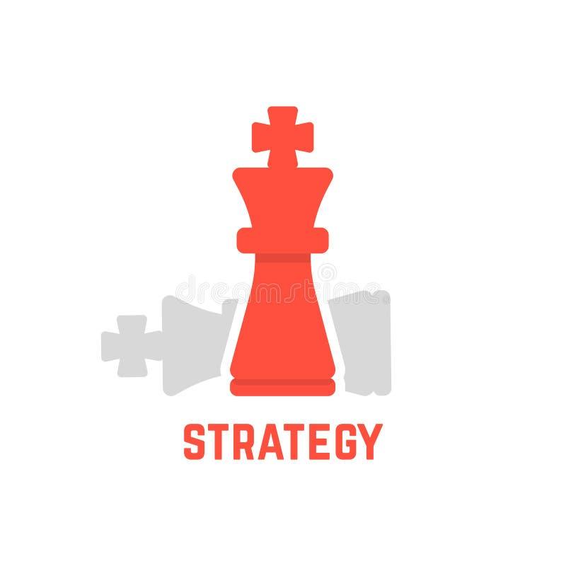 Rode schaakkoning met gevallen cijfer stock illustratie