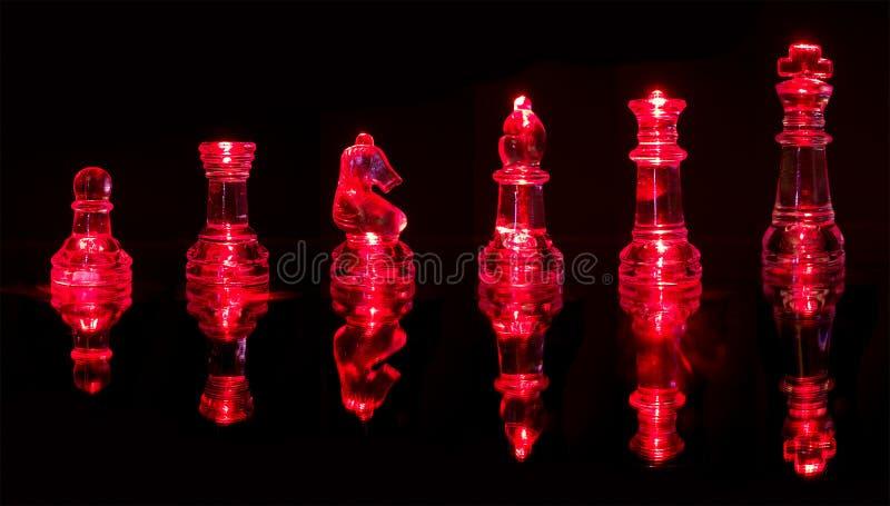 Rode Schaakstukken Royalty-vrije Stock Fotografie