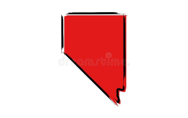Rode schetskaart van Nevada stock illustratie