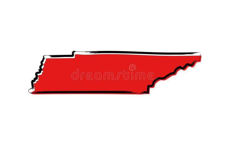 Rode schetskaart van Tennessee stock illustratie