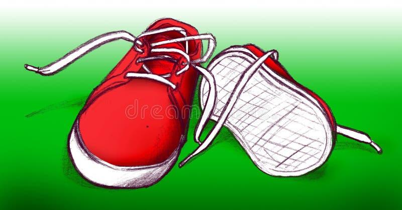 Rode schoenen op groene achtergrond stock illustratie
