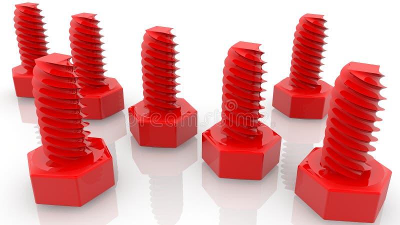Rode schroeven op wit stock illustratie