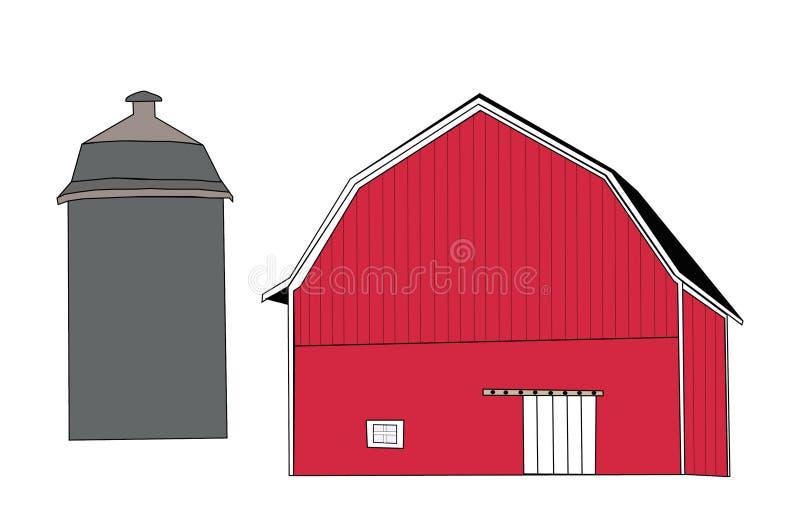 Rode Schuur & Silo vector illustratie
