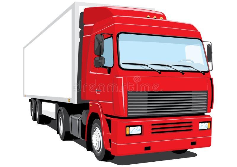 Rode semi vrachtwagen royalty-vrije illustratie