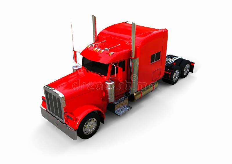 Rode Semi Vrachtwagen vector illustratie