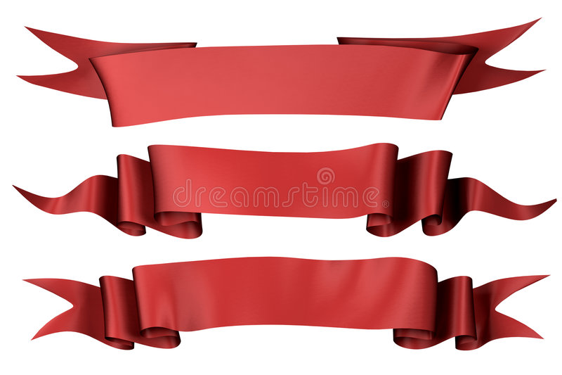 Rode silbbanners   royalty-vrije illustratie