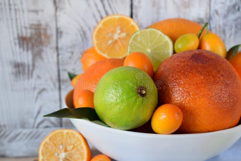 Rode sinaasappel, kalk, citroen en kumquats royalty-vrije stock afbeelding