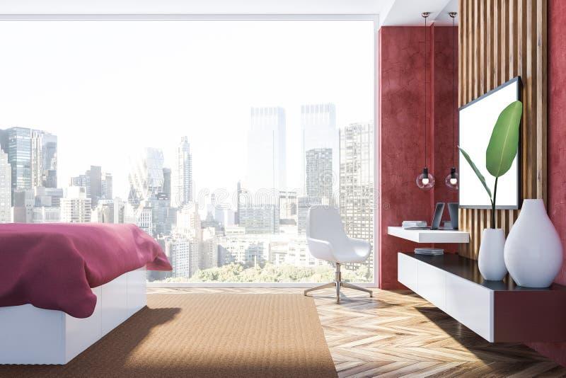 Rode slaapkamer met dichte omhooggaand van TV royalty-vrije illustratie