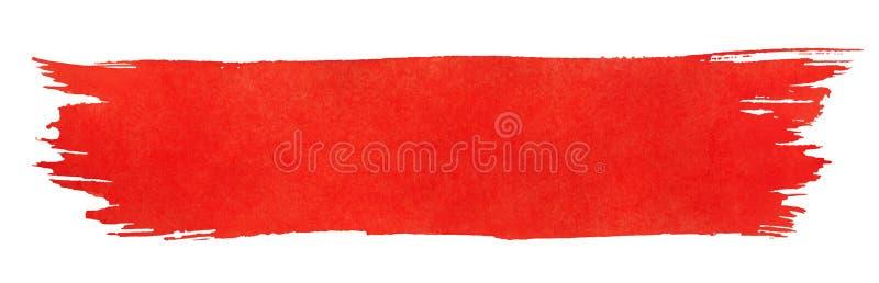 Rode slag van verfborstel stock illustratie