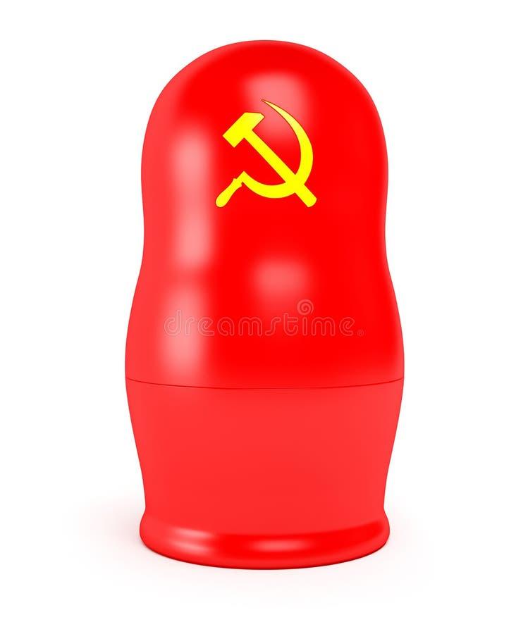 Rode Sovjetmatryoshka stock afbeelding