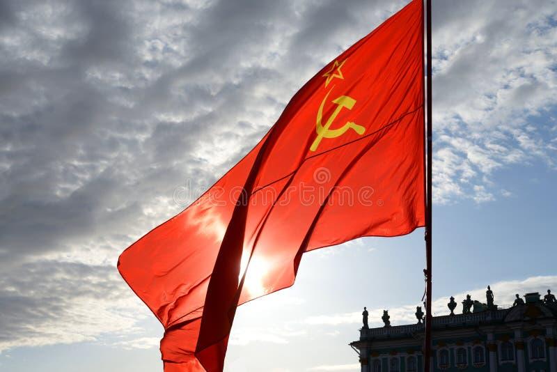Rode Sovjetvlag royalty-vrije stock foto
