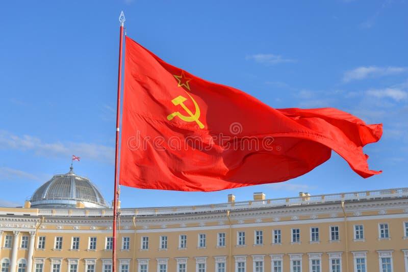 Rode Sovjetvlag stock afbeelding