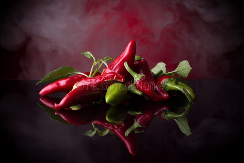 Rode Spaanse peperpeper op de zwarte achtergrond stock foto
