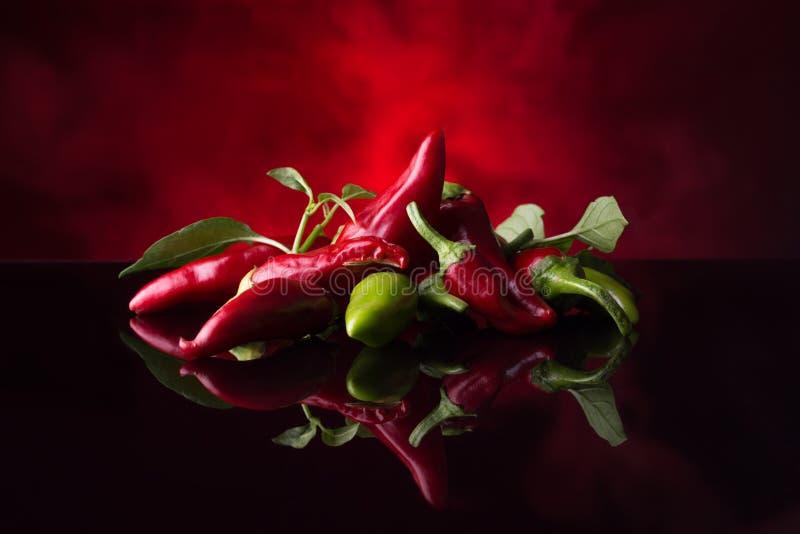 Rode Spaanse peperpeper op zwarte en rode achtergrond royalty-vrije stock foto's