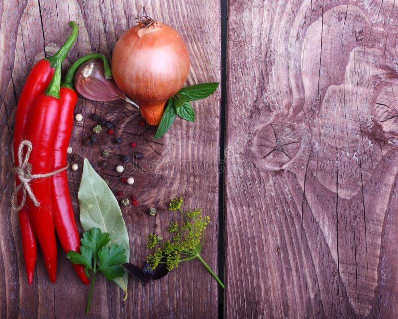 Rode Spaanse Peperspeper En Kruiden Stock Foto
