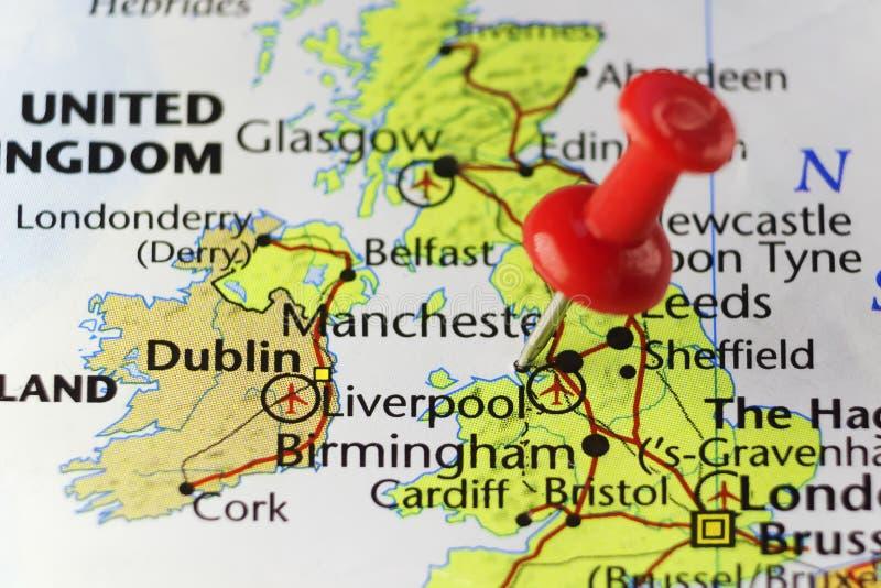 Rode speld op Liverpool, Engeland, het UK stock illustratie