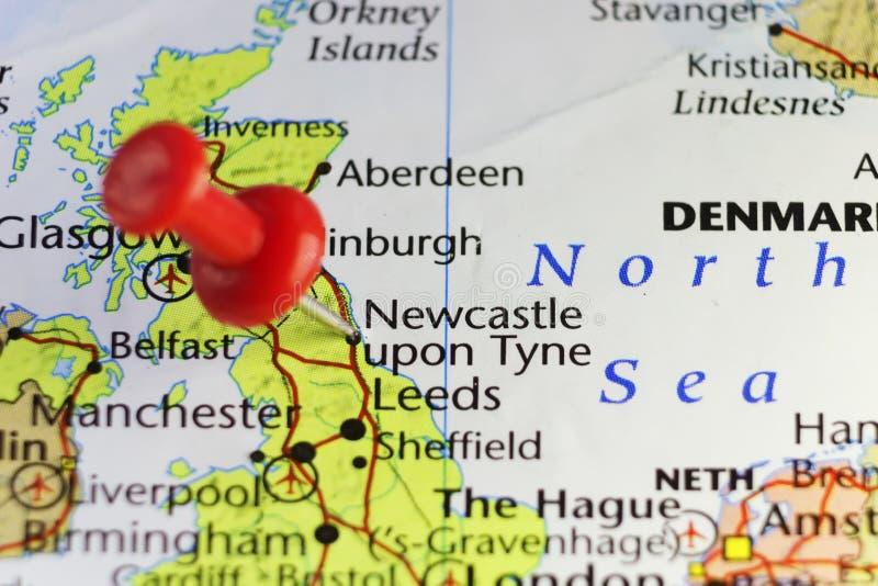 Rode speld op Newcastle, Engeland, het UK stock illustratie