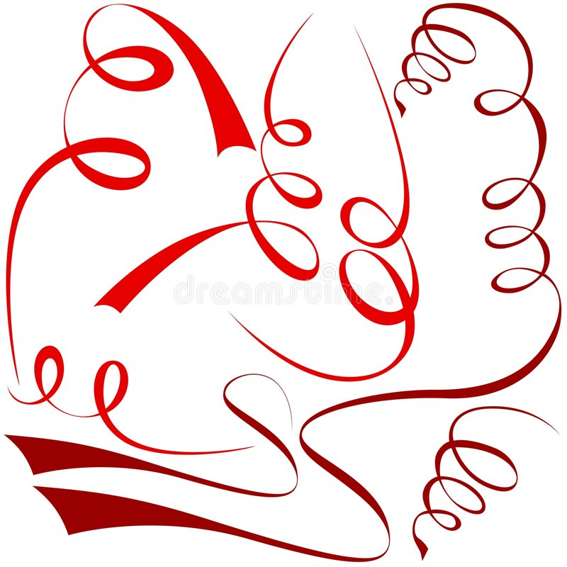 Rode spiraalvormige elementen stock illustratie