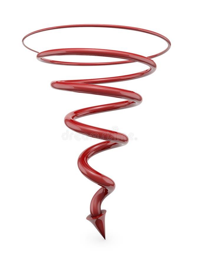 Rode spiraalvormige lijn met pijl royalty-vrije illustratie
