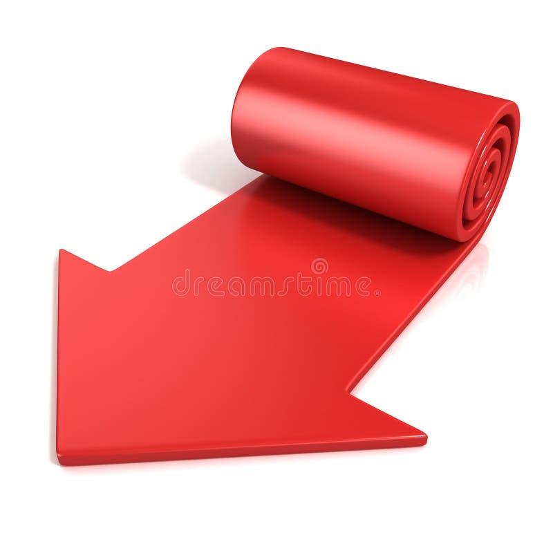 Rode spiraalvormige pijl stock illustratie