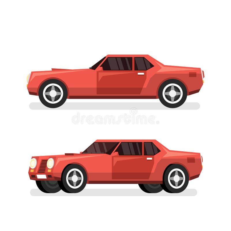 Rode sporten krachtige auto met grote motor vector illustratie
