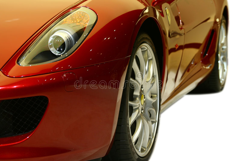 Rode sportwagen stock foto