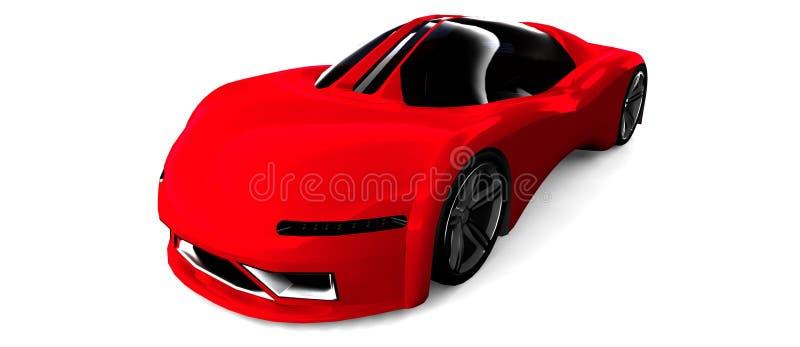 Rode sportwagen die op wit wordt geïsoleerdg royalty-vrije illustratie