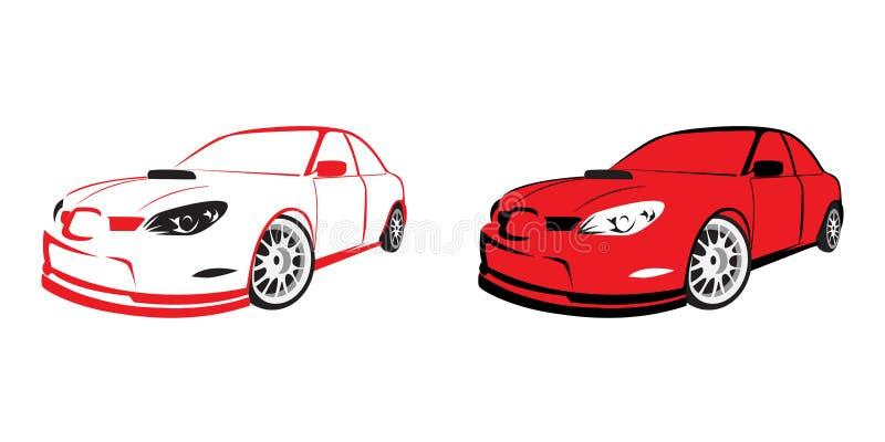 Rode sportwagen - embleem royalty-vrije illustratie