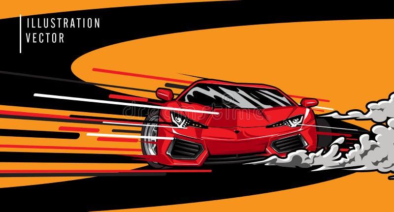 Rode sportwagen op de weg Het moderne en snelle voertuig rennen Super ontwerpconcept luxeauto Vector illustratie royalty-vrije illustratie