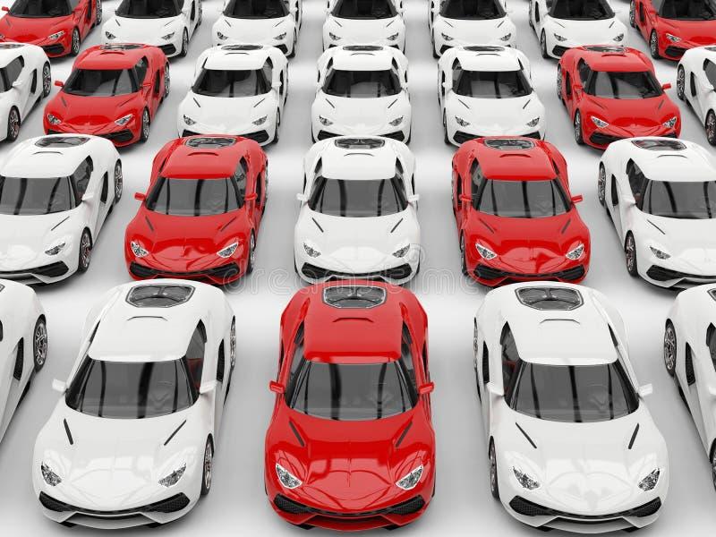 Rode sportwagens in vorming onder witte auto's stock illustratie