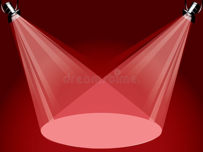 Rode spotligths royalty-vrije illustratie