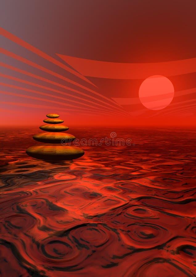 Rode stenen en zonsondergang vector illustratie