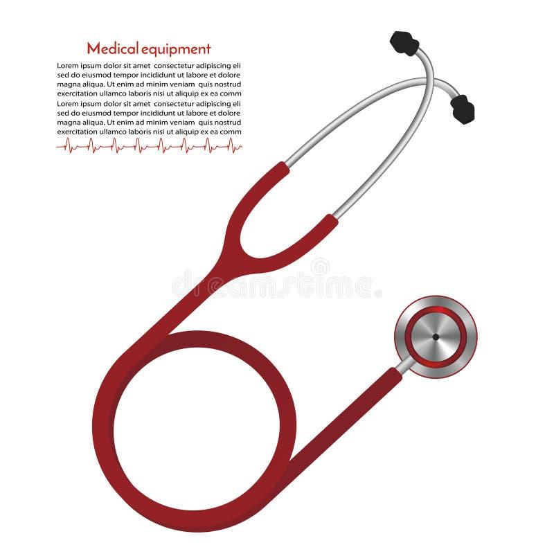 Rode Stethoscoop medische apparatuur voor de meting van het harttarief vector illustratie