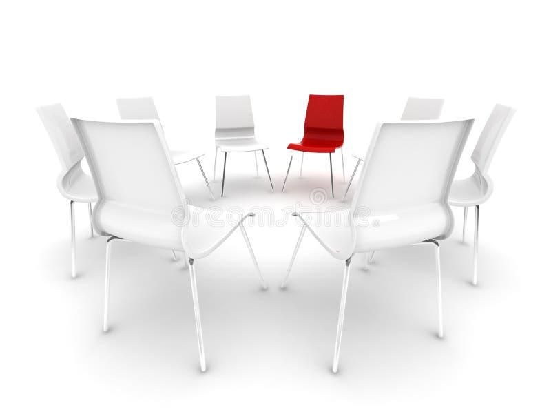 Rode stoel in een cirkel van witte stoelen royalty-vrije illustratie