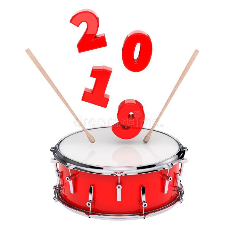 Rode Striktrommel met Paar van Trommelstokken en het Nieuwjaarteken van 2019 royalty-vrije illustratie