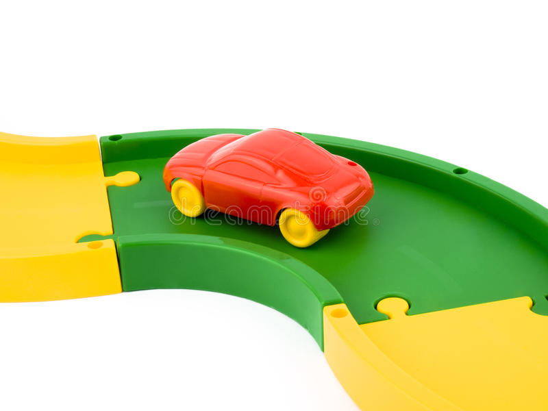 Rode stuk speelgoed auto stock afbeeldingen