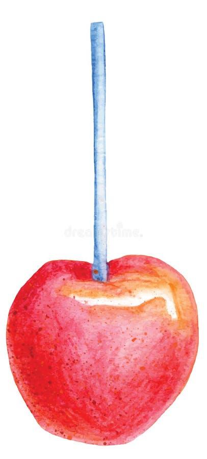 Rode suikergoedappel op de vector van de stokwaterverf stock illustratie