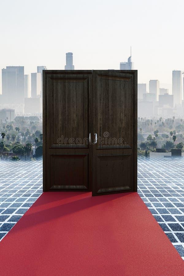 Rode tapijt en stad achter deuren royalty-vrije illustratie