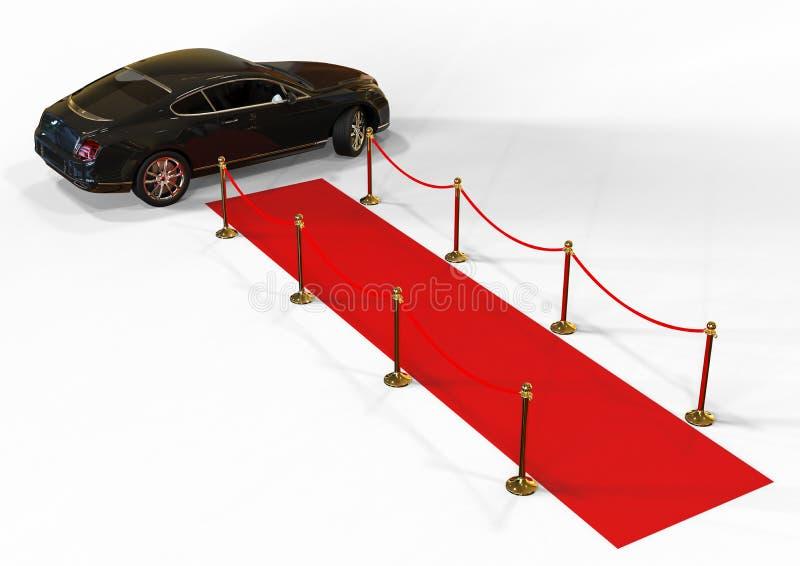 Rode tapijtauto royalty-vrije illustratie