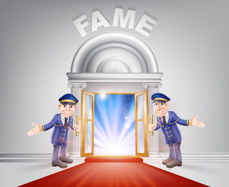 Rode tapijtdeur aan Bekendheid royalty-vrije illustratie